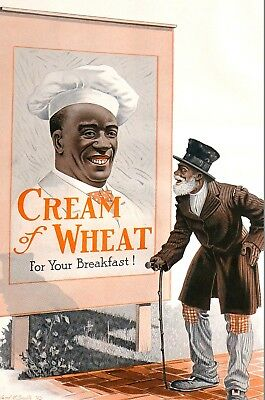 Cream of Wheat Ad OLD MAN 1914 Edward BREWER Large Antique Matted Advertising