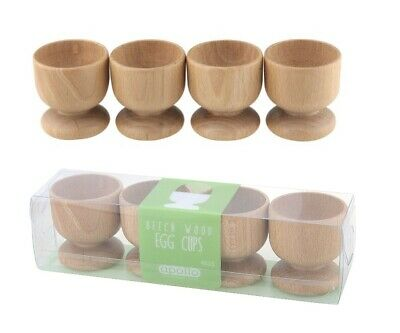 Set of 4 Egg Cups Beech Natural Wood Breakfast Boiled Serving Stand Holder 4523