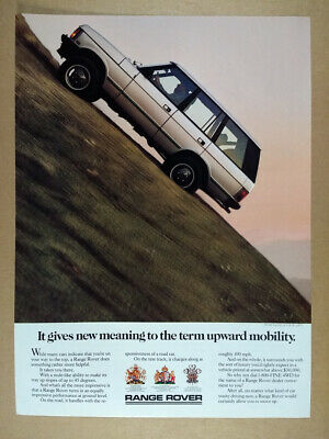 1987 Range Rover Classic driving uphill photo vintage print Ad