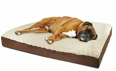Orthopedic Dog Bed Pet Lounger Deluxe Cushion for Crate Foam Soft Fuzzy d183