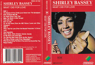 SHIRLEY BASSEY - What I Did For Love  - Cassette - Tape   SirH70