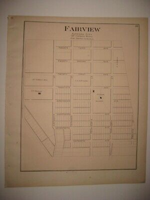 Antique 1873 Fairview Altoona Blair County Pennsylvania Handcolored Map Superb