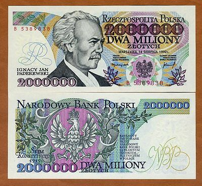 Poland, 2000000 (2,000,000) Zlotych, 1992, P-158b, UNC > Hyperinflation