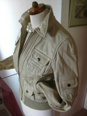 Ladies NEXT cream real leather JACKET COAT size UK 14 12 biker military bomber