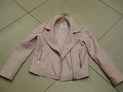 Girls kids M&S faux leather BIKER JACKET COAT age 9 10 years grease pink ladies