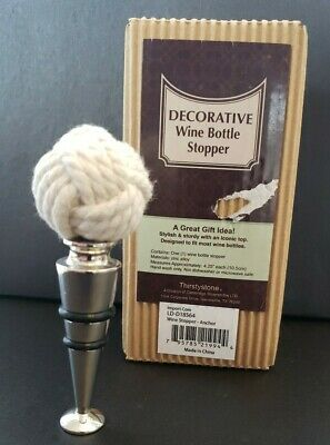 Thirstystone Nautical Rope Wine Bottle Stopper New In Box