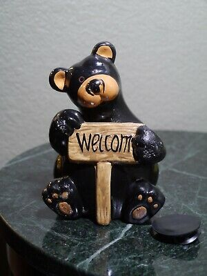 """Bear """" Welcome """" Ceramic Coin Bank ~6.25"""" Height Black Color"""
