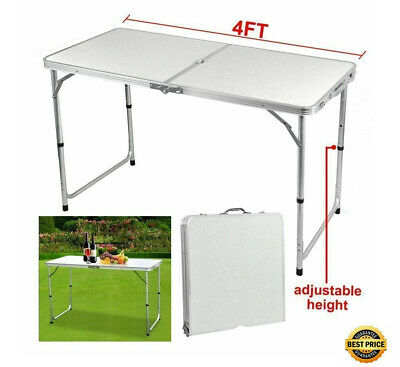 4FT  Heavy Duty Portable Folding Trestle Table  Plastic Camping Garden Party BBQ