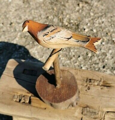 Old Folk  Art Carved Wooden Bird On A Log Ring Base Stand Hand Painted Song Bird