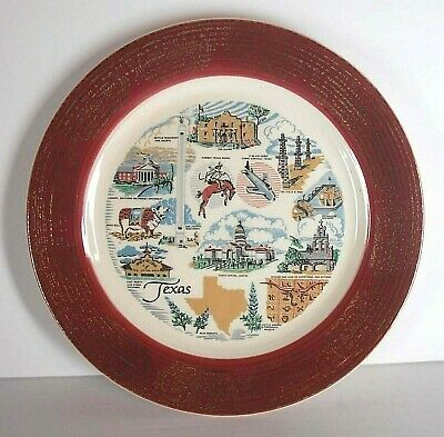 Vintage TEXAS collector state plate Maroon Gold Filigree Border