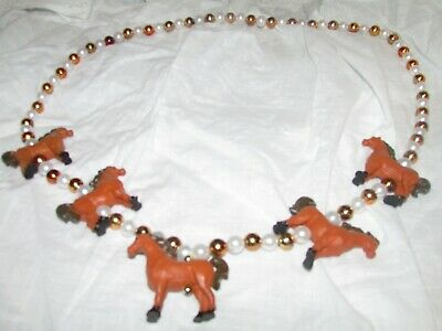 Rhode Island Novelty 2003 Rinco Gold and Pearl Threaded Horse Necklace Cute!