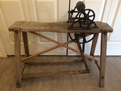 Antique Tool Primitive FOOT OPERATED GRINDING STONE Cast Iron Gears Wheel
