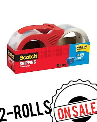 Scotch Shipping Packaging Tape With Dispenser 1.88 x 54.6 Yds Heavy Duty 2Rolls