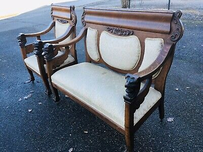 Antique 1800s Empire Parlor Set Lion Heads Claw Feet Carved Ornate Victorian 2pc