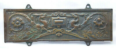 Decorative period style brass plaque, mythical beasts cast 17th Century style