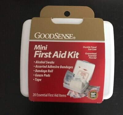 Mini First-Aid Kit (20 pc.) Case Pack Of 10 Carry Case Good Sense Bandages New