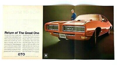 1968 Pontiac GTO Advertisement The Great One Multi Page Muscle Car Vtg Print AD
