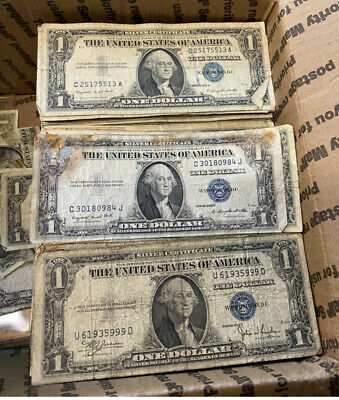 BULK Lot 100 1957 1935 $1 Dollar US Note Silver Certificate Collection $100 Cull