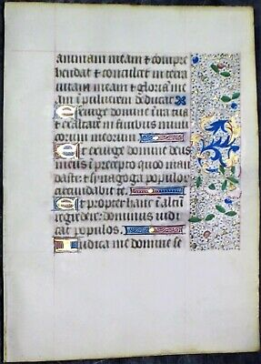 Illuminated medieval BoH leaf,colorful gold initial&borders,ca.1475. #R4