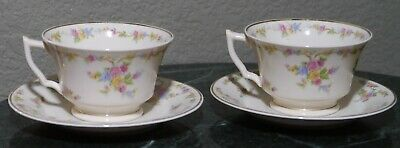 Pair of Old Ivory Syracuse China OPCO Made in America Tea Cups and Saucers