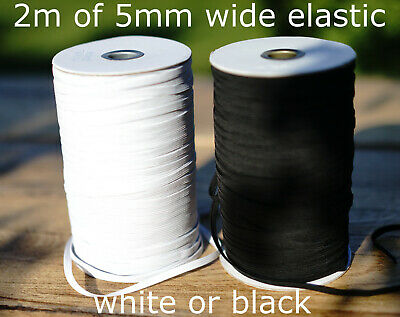 2MTRS QUALITY White Black Flat Elastic elasticatedCord 5mm For Sewing face Masks