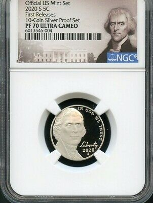2020 S Jefferson Nickel First Releases From 10-Coin Proof Set NGC PF70 UC POR