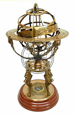 "18"" Nautical Brass Sphere Engraved Armillary Antique Vintage Astrolabe Compass"