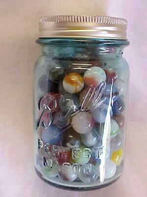As Found Blue Glass Mason Jar Full Of Marbles