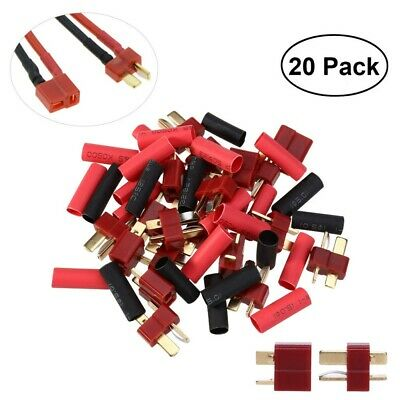 20x Ultra T-Plug Connectors Deans Style +20*Shrink Tubing for RC LiPo Battery