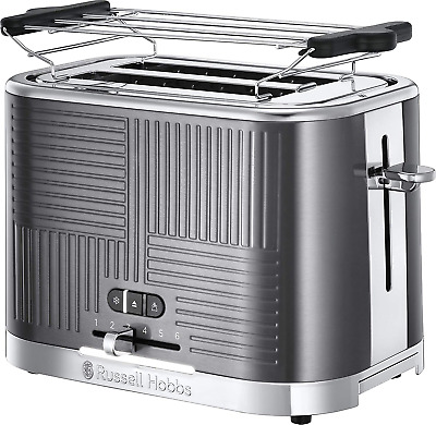 Russell Hobbs 25250-56 Toaster Grille-Pain Geo Steel, 4 Fonctions, Brunissage Un