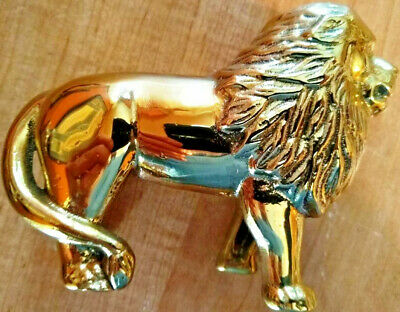 NEW Beautiful Solid Polished Brass Standing Lion Figurine BANK Decoration.