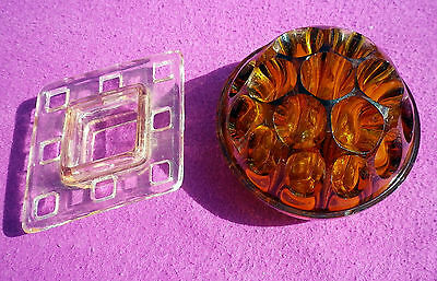 Two Vintage Glass Flower Frogs Floral Arranging Amber & Pink