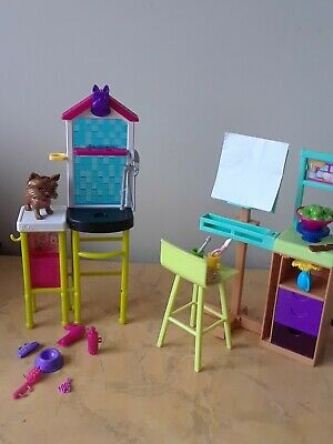 Barbie Art Studio Painting Easel Dollhouse Furniture Pet Vet Groomer playset