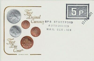 Gb : Postal Strike Cover, Bishops Stortford Mail, First Decimal Currency (1971)