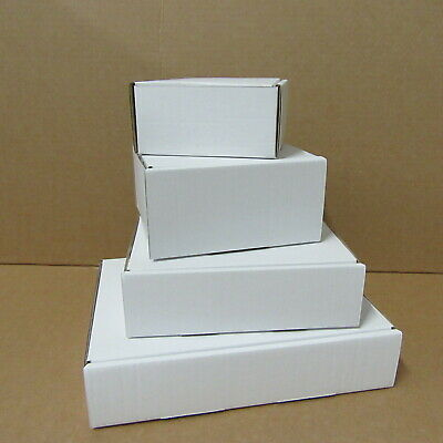 Small Cardboard Diecut White Boxes  Mailing Shipping Royal Mail Postage Gift Box