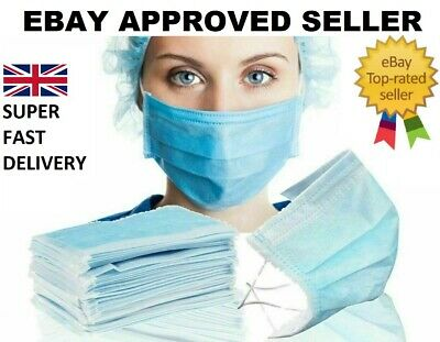 DISPOSABLE SURGICAL FACE MASK FLU DUST MOUTH FACE 3 PLY Super Fast Delivery