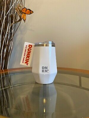 2019 Dunkin Donuts 12 oz. Insulated Tumbler / Travel Mug White Stainless Steel