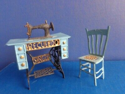 Vintage Miniature Metal Pedal Sewing Machine & Chair- Singer- Doll Or Dollhouse