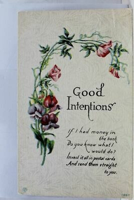 Greetings Good Intentions Postal Cards Postcard Old Vintage Card View Standard