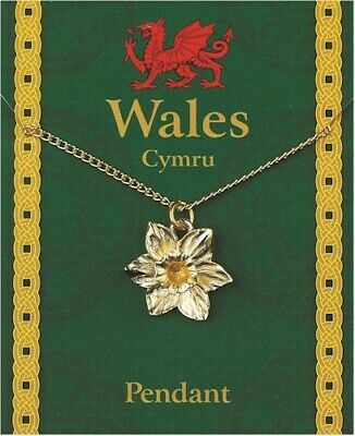 Wales / Welsh Daffodil Gold Plated Pewter Pendant On A Chain