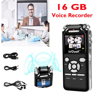 16G Mini Digital Voice Recorder HD LCD Sound Audio Dictaphone USB Rechargeable