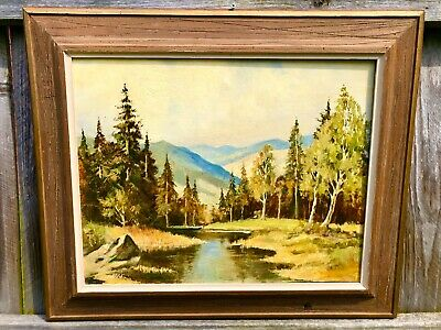 Vintage Oil Painting Mountian Stream Peaceful Meadow Signed & Framed