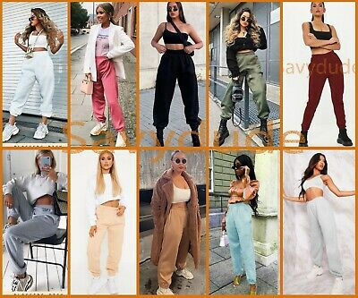 Womens Fleece Casual Oversized Jogging Joggers Ladies Cuffed Bottoms Jog Pants