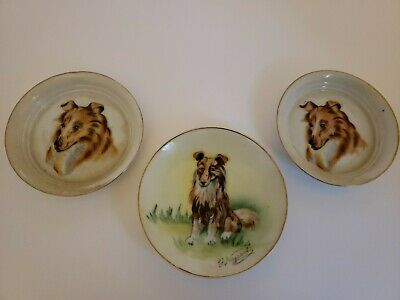 Vintage Lot of 3 Lassie Collie Dog Round Gold Trim Ashtrays/Dishes Collectible