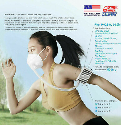 [New Packing]BROAD AirPro Electrical Air Purifying Respirator/Reusable/2 Masks