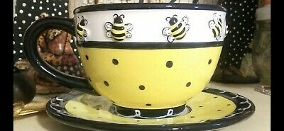New Whimsical Honey Bumble Bee Teacup & Saucer Set Adorable 3D Bees Yellow Black