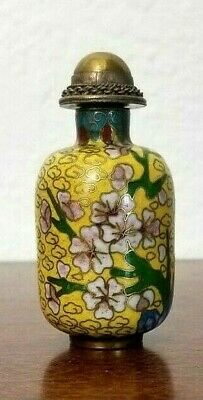 Antique Chinese Snuff Bottle Cloisonne w/ Brass Filigree Top, Marked, 19th C.