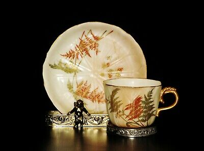 Antique Hand painted Royal Worcester Tea Cup & Saucer from 1878.