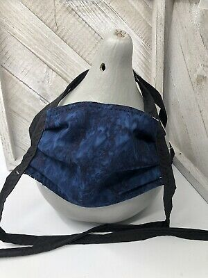 Blue Navy Tie Dye Cotton Face Mask Hand Made Ties Nose Wire
