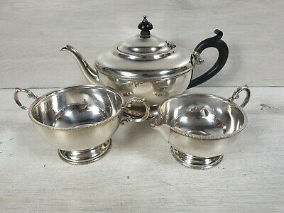 Antique Sterling Silver HENRY CLIFFORD DAVIS 1923 Teaset Tea Set Teapot Milk